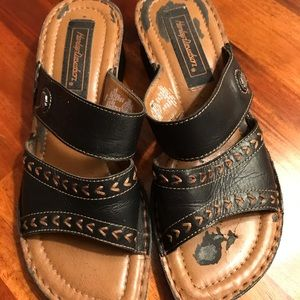 Harley Davidson Black Leather Upper Sandals